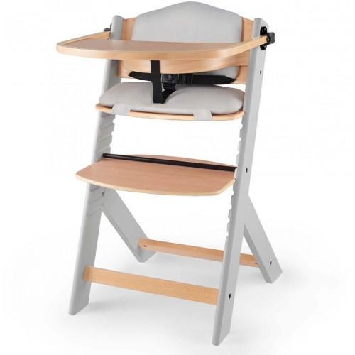 KINDERKRAFT Jídelní dřevěná židlička Enock s vložkou Grey