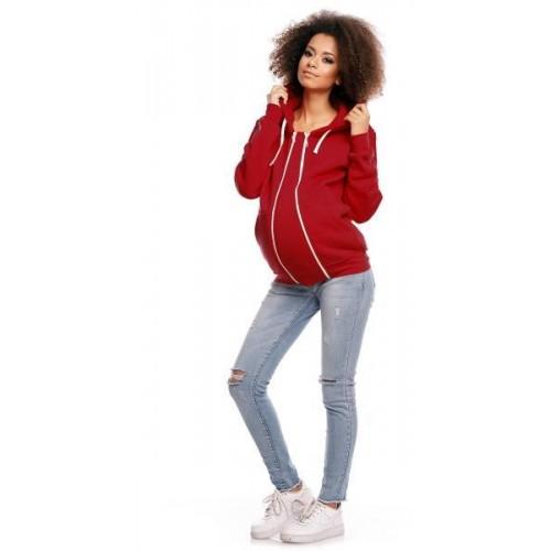 Těhotenská mikina VANDA s kapucí - červená, XXL (44)
