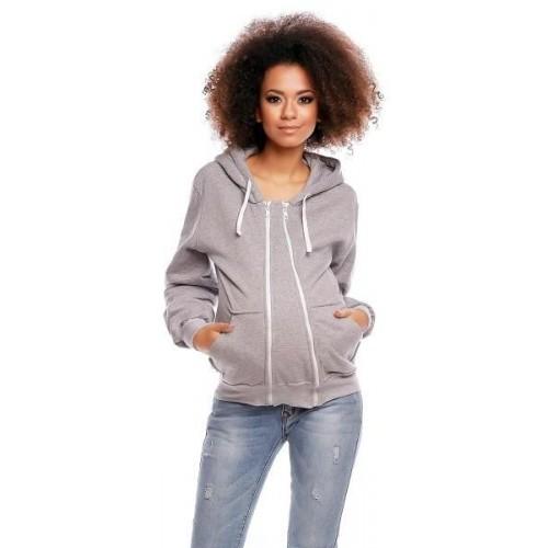 Těhotenská mikina VANDA s kapucí - světle šedá, XXL (44)