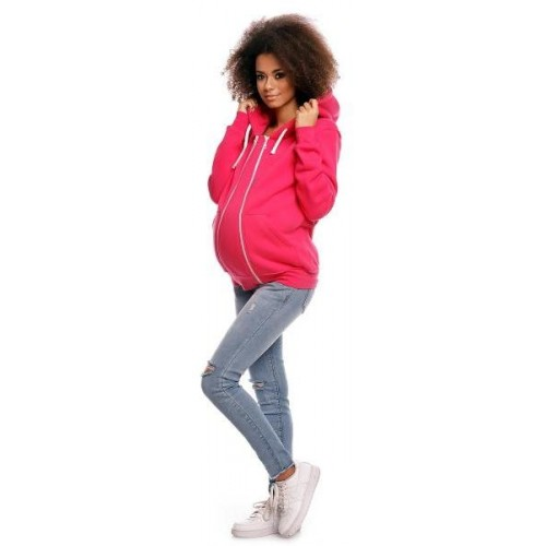 Těhotenská mikina VANDA s kapucí - růžová, XXXL (46)
