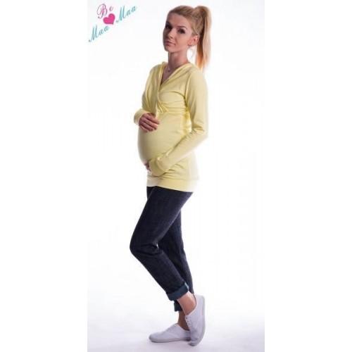 Těhotenská mikina s kapucí OLINA - žlutá, L/XL