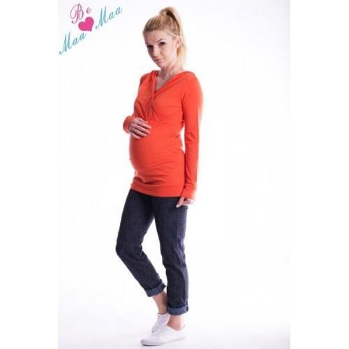 Těhotenská mikina s kapucí OLINA - pomeranč, L/XL