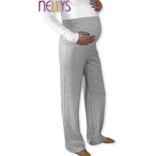 Těhotenské tepláky - šedý melír, vel. L, L (40)