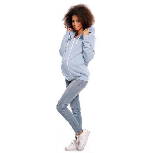 Těhotenská mikina VANDA s kapucí - jeansová, S (36)