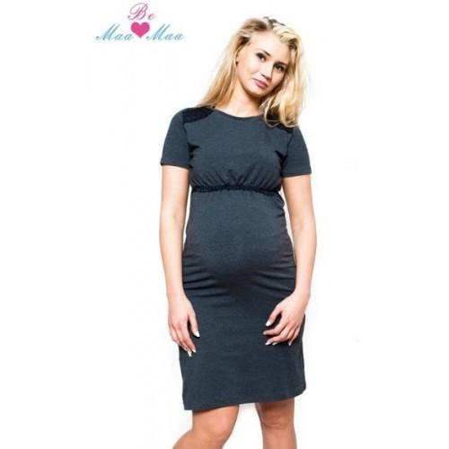 Těhotenská, kojící noční košile LUNA - grafit, L/XL