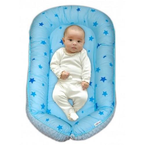 Maxi oboustranné hnízdečko s minky pro miminko Baby Stars modré, sv.modré minky