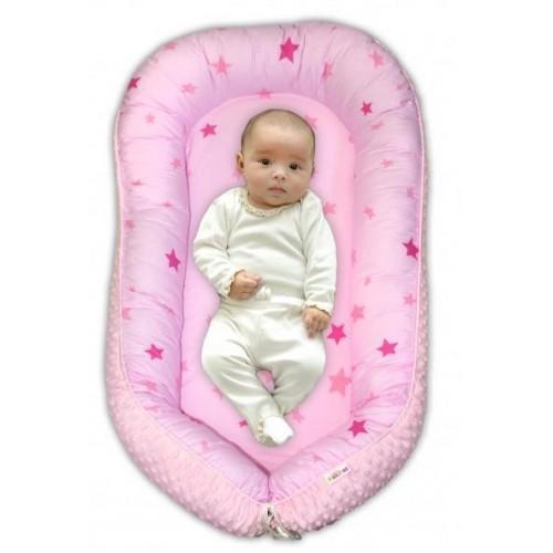 Maxi oboustranné hnízdečko s minky pro miminko Baby Stars růžové, sv.růžová minky