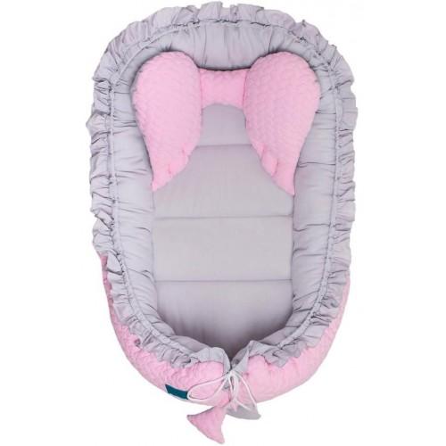 Luxusní hnízdečko pro miminko Belisima Králíček šedo-růžové