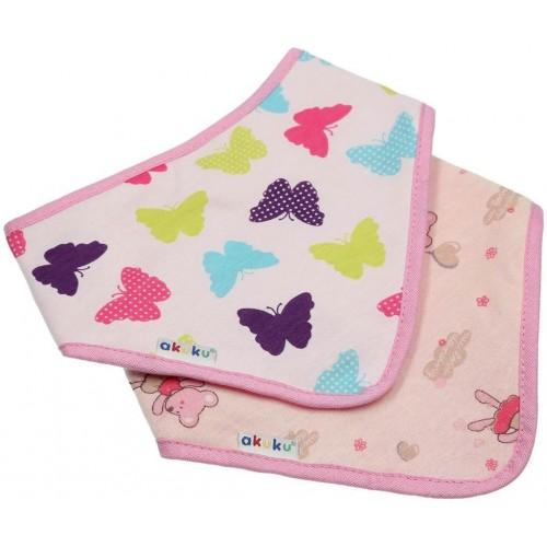 Dětský bryndáček-šátek Akuku 2 ks motýlek-myška Růžová