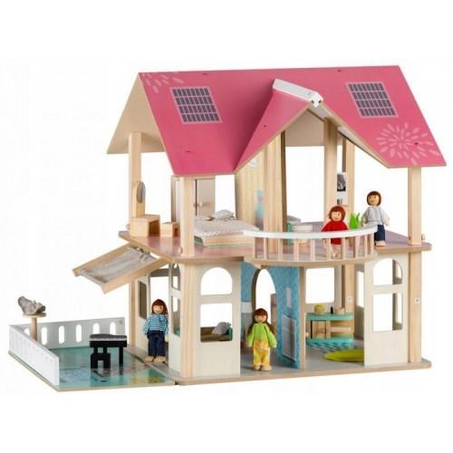 Dřevěný domek pro panenky s balkónem - Rezidence Modern