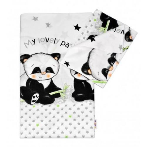 2-dílné bavlněné povlečení Panda - bílé, 120x90