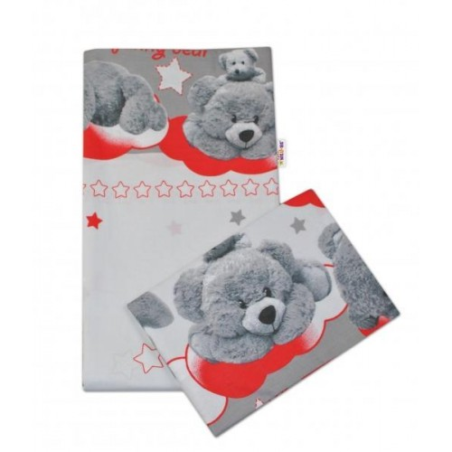2-dílné bavlněné povlečení Medvídek hvězdička - šedé s červenou - 135x100cm, 135x100