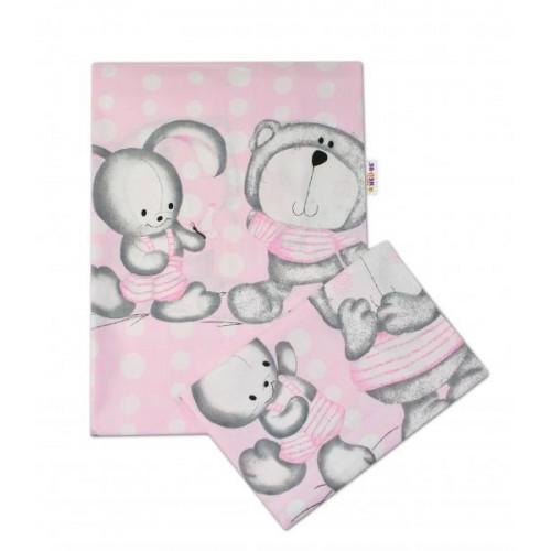 2-dílné bavlněné povlečení Medvídek s králíčkem Bubble - růžové - 135x100cm, 135x100