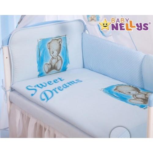 Mantinel 360cm s povlečením Sweet Dreams by Teddy - modrý, 120x90