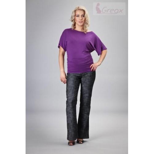 Elegantní těhotenské kalhoty JEANS - černý melír, S (36)