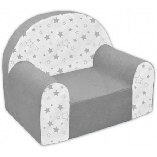 Dětské křesílko/pohovečka Nellys ® - Magic stars - šedé/bílé