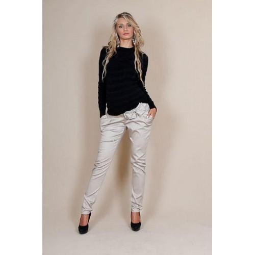 Těhotenské kalhoty s mašlí  - Béžové, M (38)