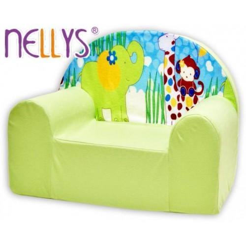 Dětské křesílko/pohovečka Nellys ® - Safari v zeleném