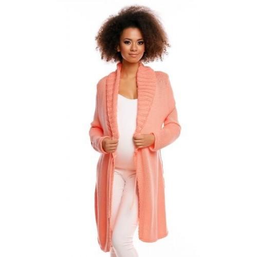 Delší těhotenský svetřík/kardigan s výrazným límcem - meruňková, UNI