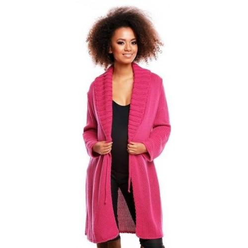 Delší těhotenský svetřík/kardigan s výrazným límcem - tm. růžová, UNI
