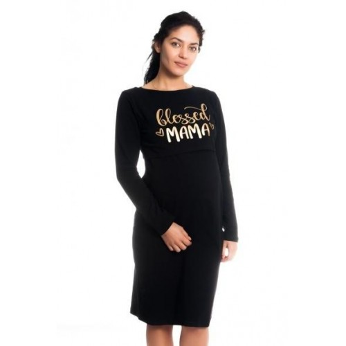 Těhotenská, kojící noční košile Blessed Mama - černá, S/M