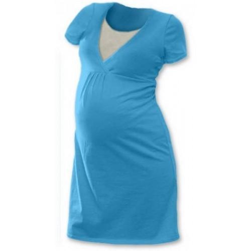 Těhotenská, kojící noční košile JOHANKA krátký rukáv - tyrkys, L/XL