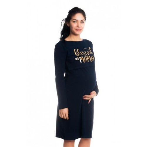 Těhotenská, kojící noční košile Blessed Mama - granátová, S/M