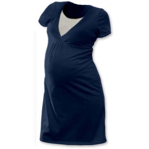 Těhotenská, kojící noční košile JOHANKA krátký rukáv - jeans, L/XL