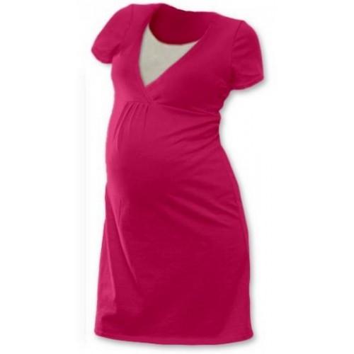 Těhotenská, kojící noční košile JOHANKA krátký rukáv - sytě růžová, S/M