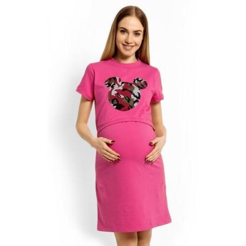 Těhotenská, kojící noční košile Minnie - růžová, S/M