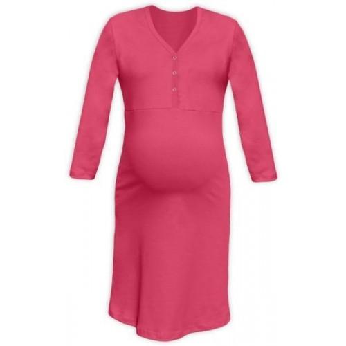 Těhotenská, kojící noční košile PAVLA 3/4 - lososově růžová, L/XL