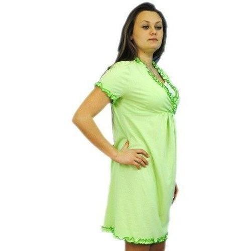 Těhotenská, kojící noční košile s volánkem - sv. zelená, vel. L/XL, L/XL