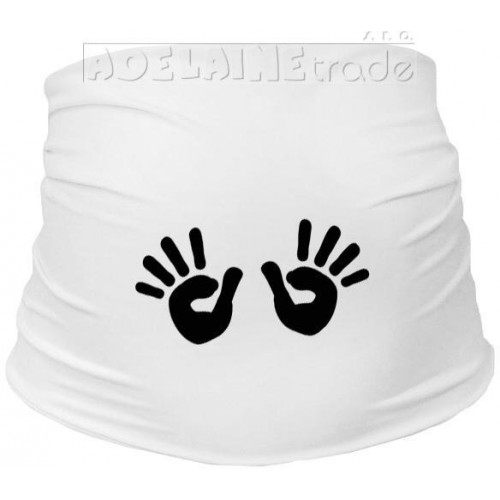 Těhotenský pás s ručičkami, vel. L/XL - bílý, L/XL