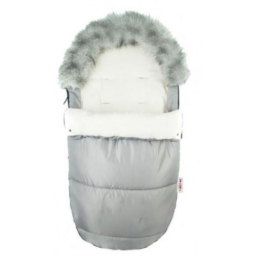 Fusák Delux Baby Nellys ® s kožešinkou 105x50cm - světle  šedý