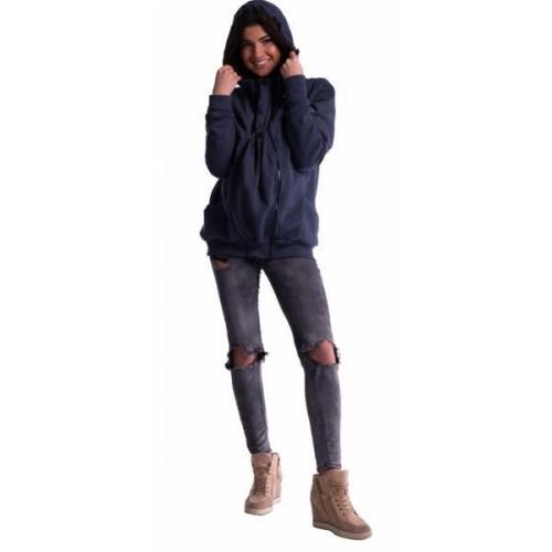 Těhotenská a nosící mikina  - granát jeans, M