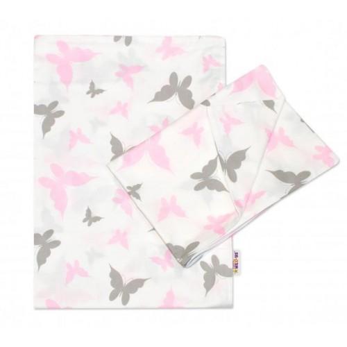 2-dílné bavlněné povlečení Motýlci - růžové, 120x90