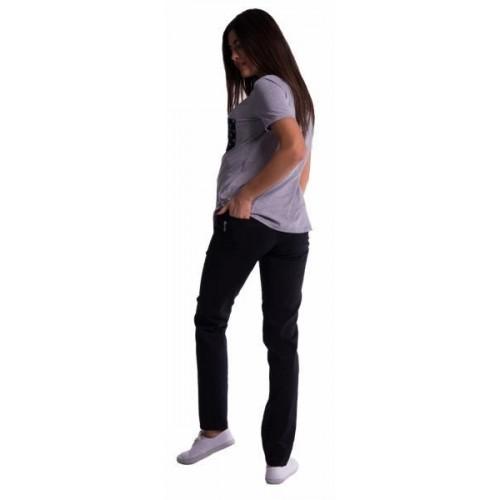 Těhotenské kalhoty s mini těhotenským pásem - černé, vel. XXL, XXL (44)