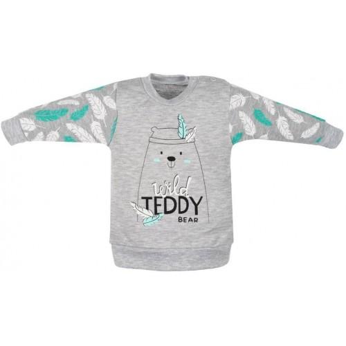 Kojenecká bavlněná mikinka New Baby Wild Teddy Šedá 62 (3-6m)