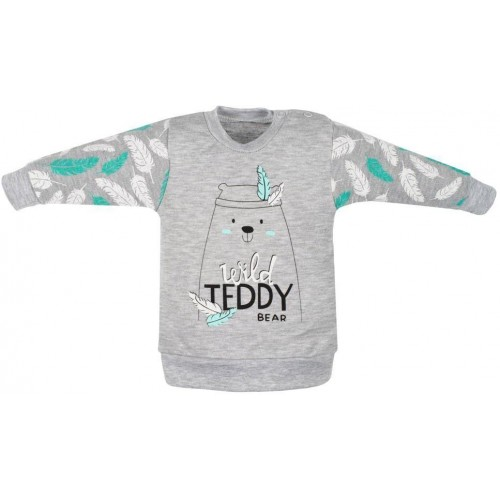 Kojenecká bavlněná mikinka New Baby Wild Teddy Šedá 80 (9-12m)