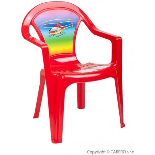 Dětský zahradní nábytek - Plastová židle červená vrtulník