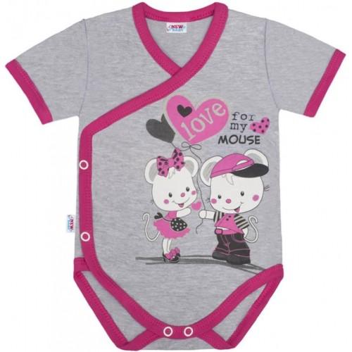 Dětské body s bočním zapínáním krátký rukáv New Baby Love Mouse Růžová 68 (4-6m)
