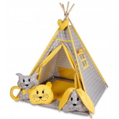 Stan pro děti týpí s velkou výbavou - šedý, žlutý