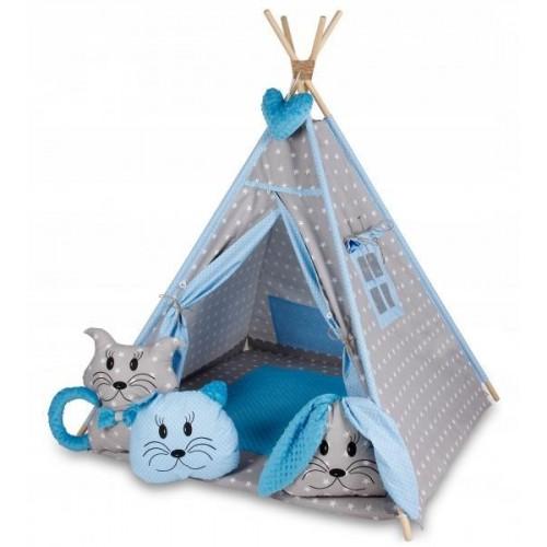 Stan pro děti týpí s velkou výbavou - šedý, modrý