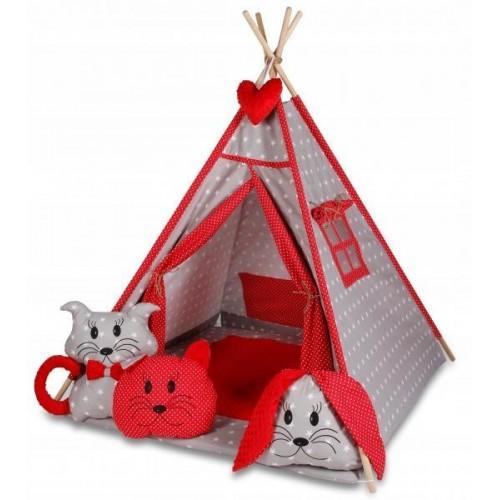 Stan pro děti týpí s velkou výbavou - šedý, červený