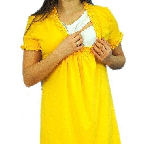 Be MaaMaa Těhotenská, kojící noční košile s volánkem - žlutá, S/M