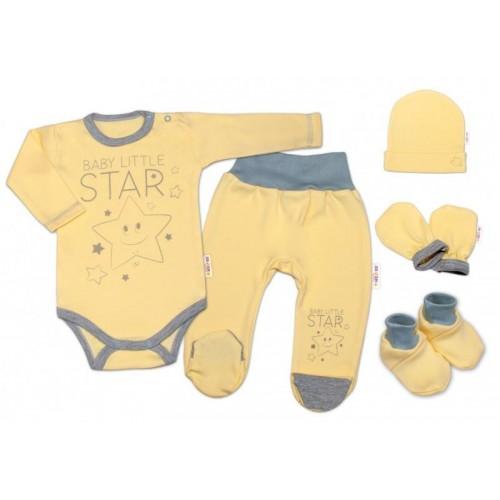 Baby Nellys 5-ti dílná soupravička do porodnice Baby Little Star - žlutá, K19, 56 (1-2m)