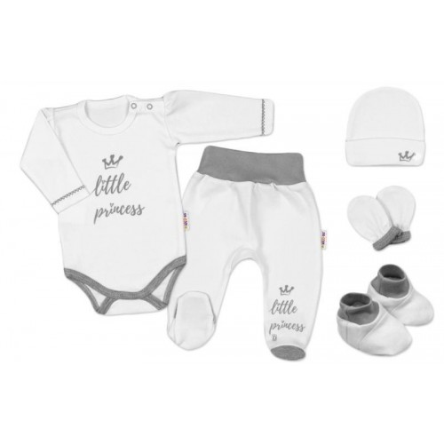 Baby Nellys 5-ti dílná soupravička do porodnice Princess, vel. 62 - bílá, 62 (2-3m)