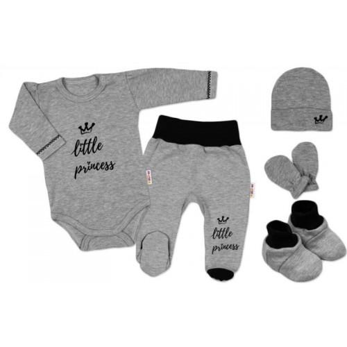 Baby Nellys 5-ti dílná soupravička do porodnice Princess - šedá, 56 (1-2m)