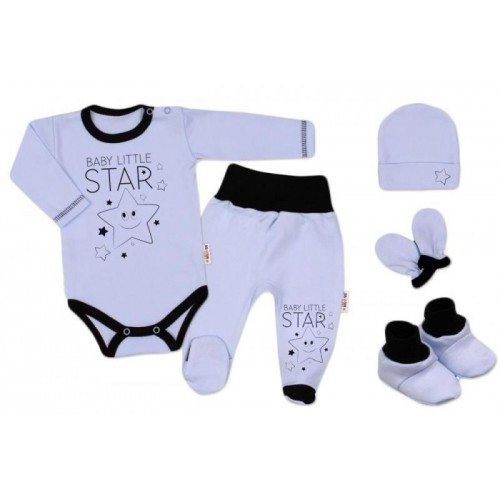 Baby Nellys 5-ti dílná soupravička do porodnice Baby Little Star - modrá, K19, 56 (1-2m)