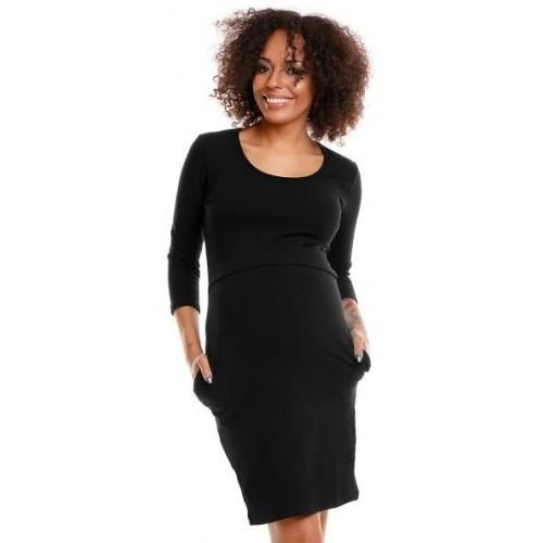 Be MaaMaa Pohodlné těhotenské šaty, 3/4 rukáv - černé (kojící), vel. XXL, XXL (44)